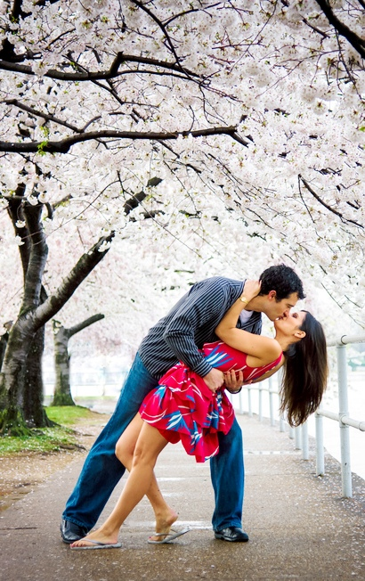Love underneath the cherry blossom trees