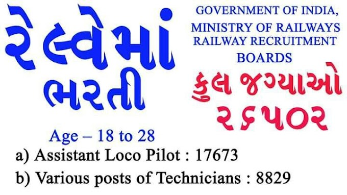 RRB Centralized Employment Recruitment for 26502 Assistant Loco Pilot & Technicians Posts 2018
