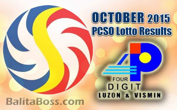October 2015 4-Digit Game PCSO Lotto Results