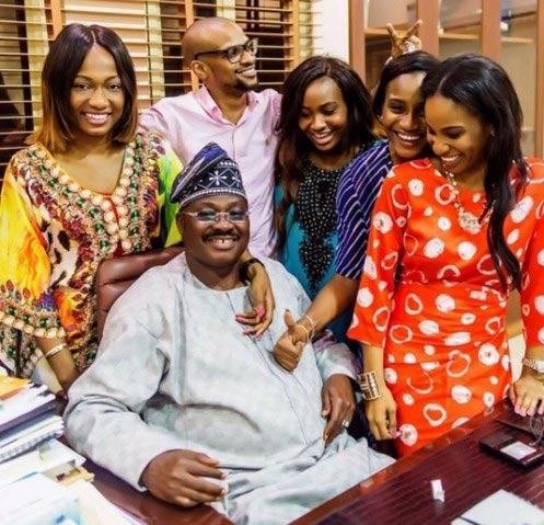 Governor Abiola Ajimobi surrounded by his children