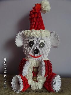 Mikołaj, Święty, origami, modułowe, 3d, czerwony, biały, miś, święta, boże narodzenie, rękodzieło, papier