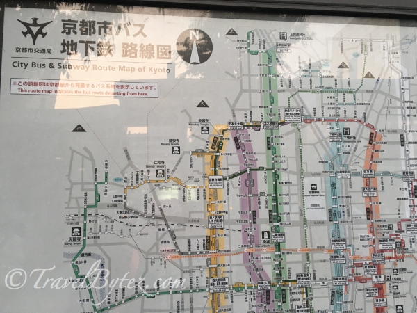 City Bus and Subway Route Map of Kyoto