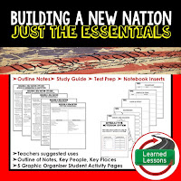 Building a New Nation Outline Notes, Civics Test Prep, Civics Test Review,Civics Study Guide, Civics Summer School Outline, Civics Unit Reviews, Civics Interactive Notebook Inserts