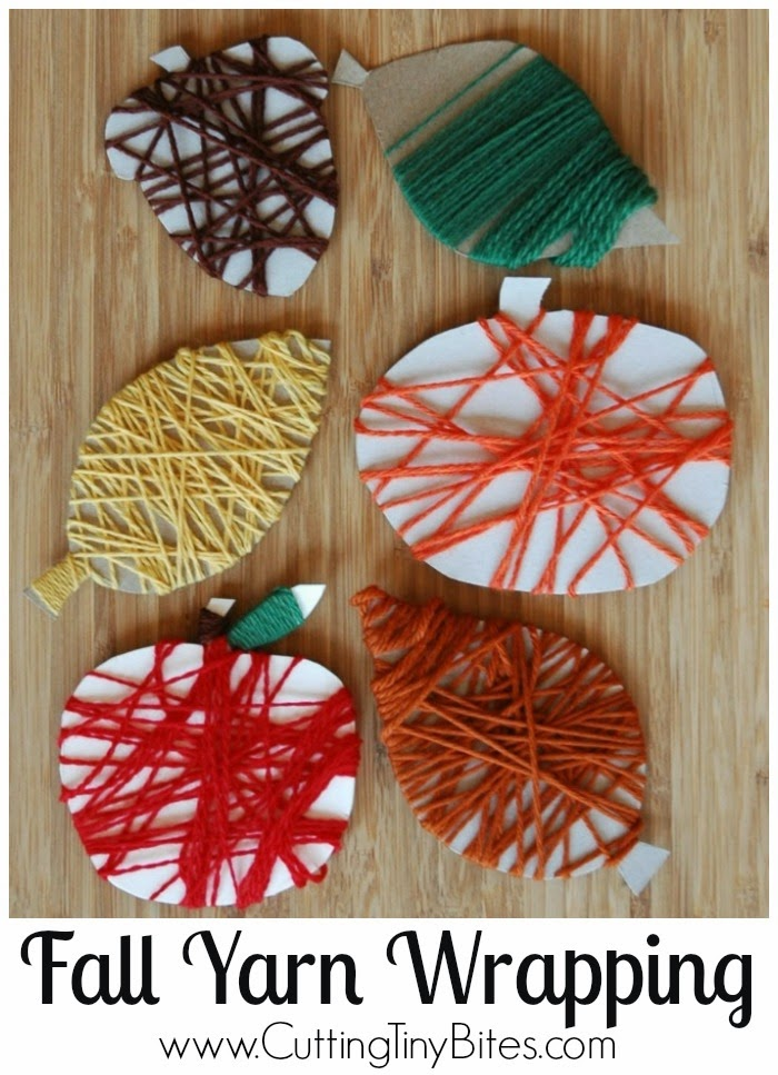 Fine Motor Fall Yarn Wrapping Craft for Kids