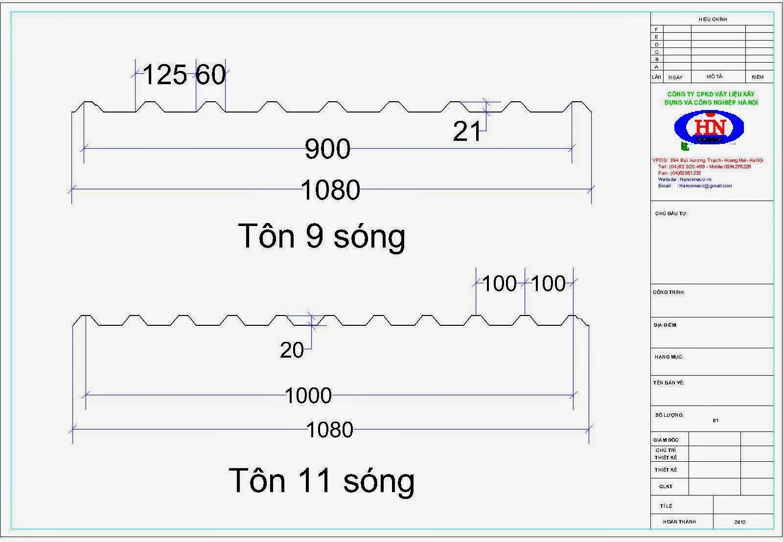 Biên dạng tôn 9 sóng | Biên dạng tôn 11 sóng