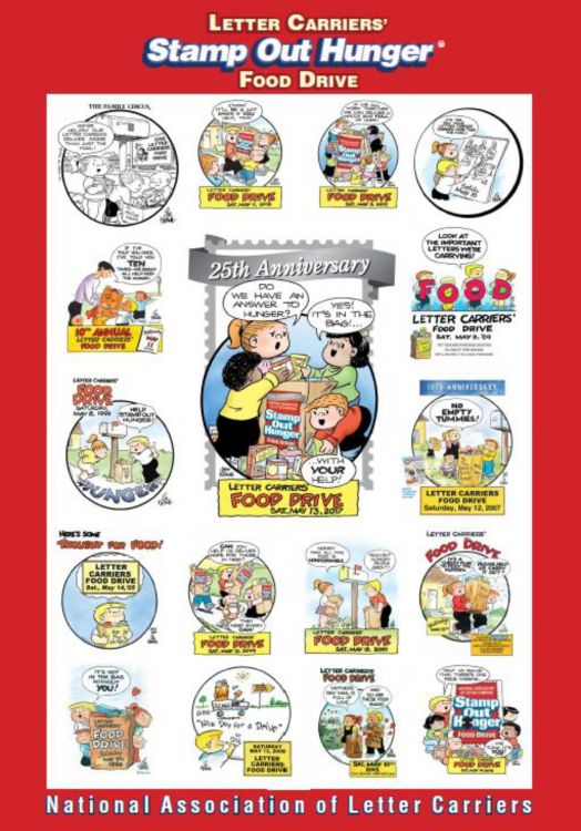 national association of letter carriers cartoonphilately 25th annual stamp out hunger food drive 23746