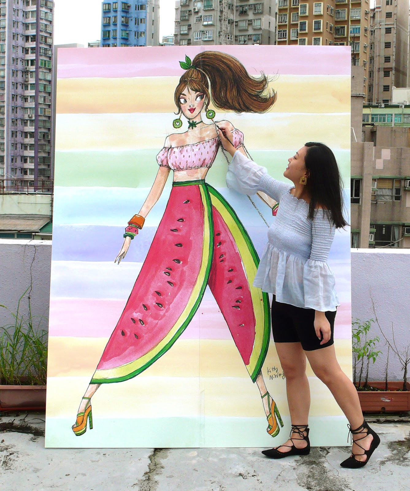 Artist girl Kitty N. Wong painting life size fruit inspired Fashion Illustration