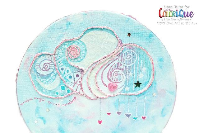 Zen Doodle Cloud Canvas Closeup by Dana Tatar for ColoriQue