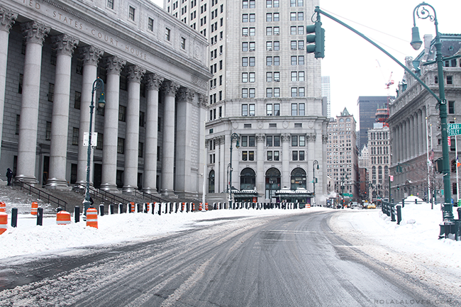 NYC Winter, Foley Square, Thurgood Marshall United States Courthouse at 40 Centre Street, Blizzard of 2015