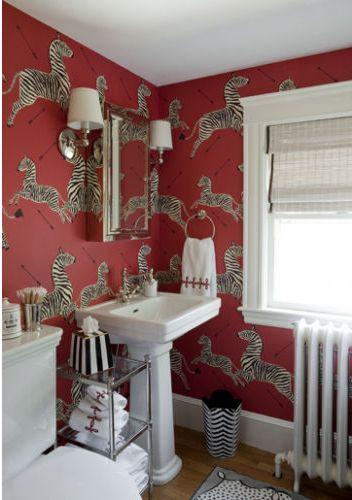 chinoiserie chic scalamandre zebras bathroom roundup