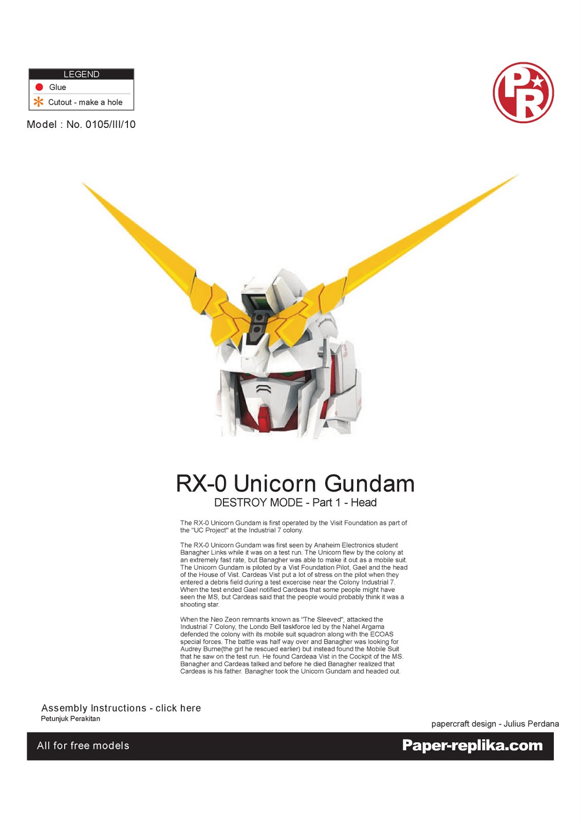 Find A Code >> Geek's Republic: Unicorn Gundam by paper-replika [Part 1 Head]