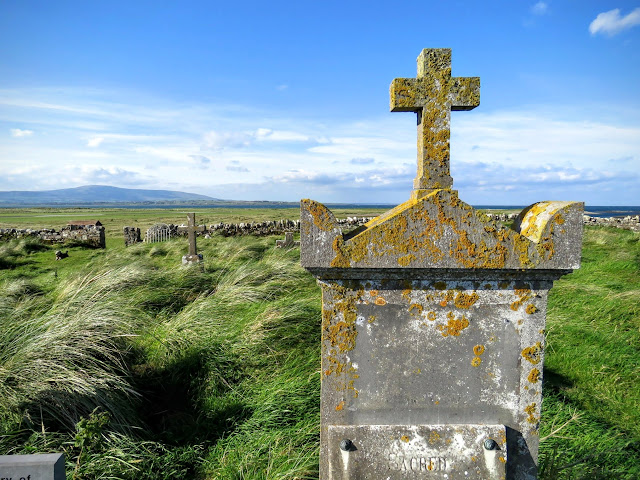 Gravestone near Killaspugbrone Church ruins in County Sligo, Ireland
