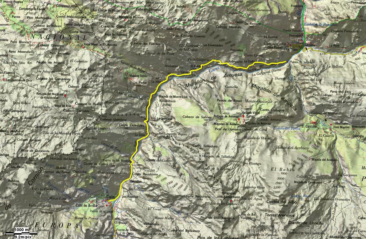Mapa Ruta Del Cares.Por Valles Y Montanas Excursion X001 Ruta Del Cares
