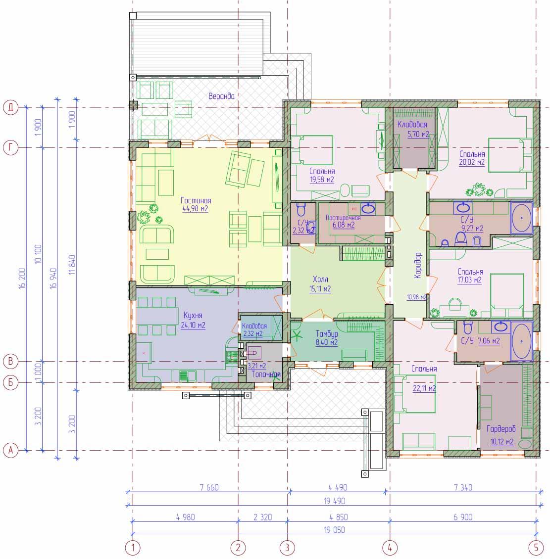 Проекты одноэтажных угловых домов с фото