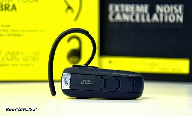 The Jabra Extreme 2 Bluetooth Headset with the attached ear hook