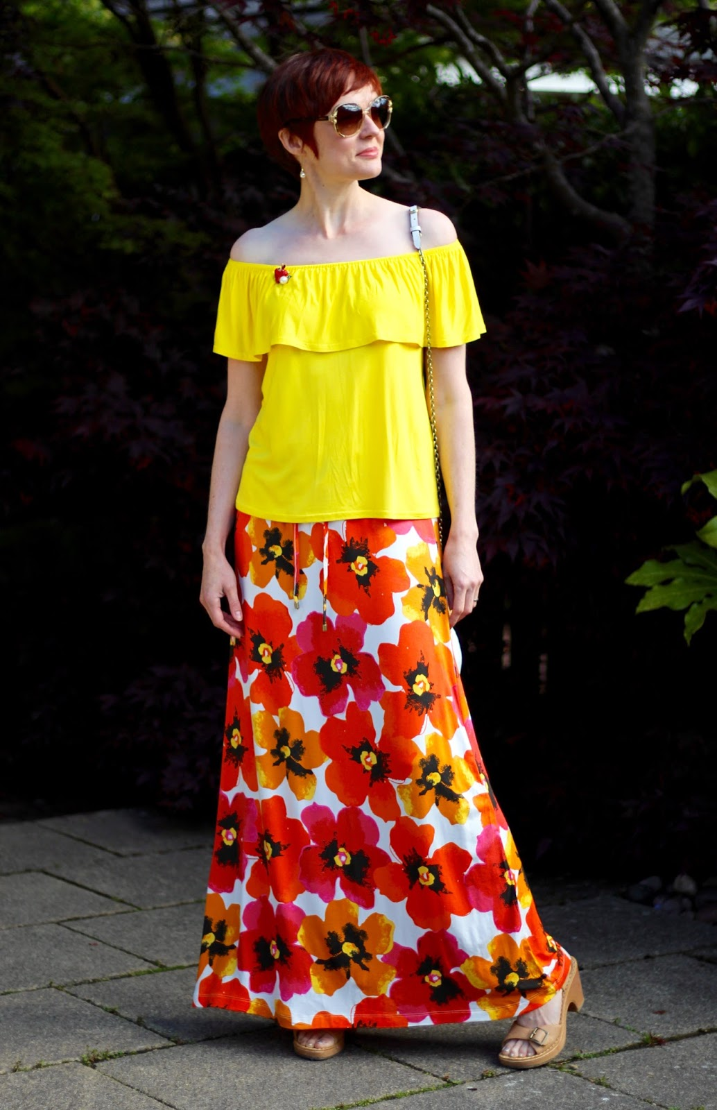 Yellow off-the-shoulder top & Bold Floral Maxi skirt | Fake Fabulous