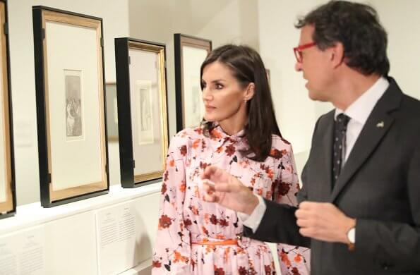 Queen Letizia wore Hugo Boss floral print shirtdress. Queen Letizia wore a new floral print midi shirtdress by Hugo Boss