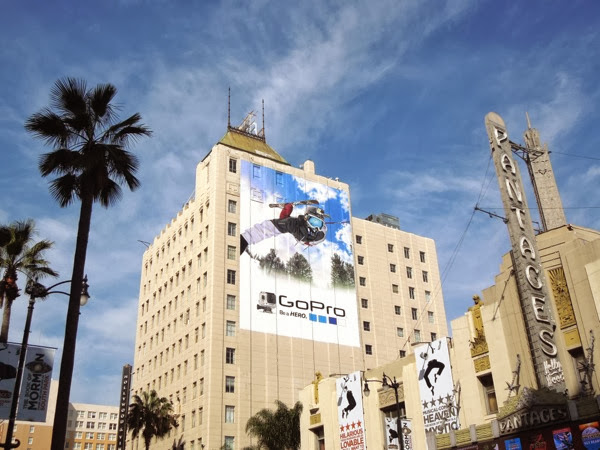 Giant GoPro skier billboard Hollywood Boulevard
