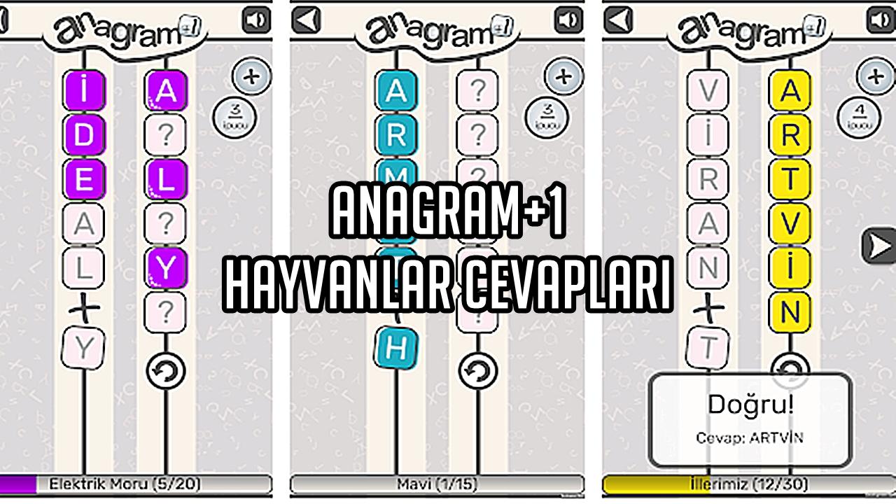 Anagram+1 Hayvanlar Cevaplar