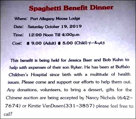 10-19 Spaghetti Dinner Benefit, Port Allegany Moose