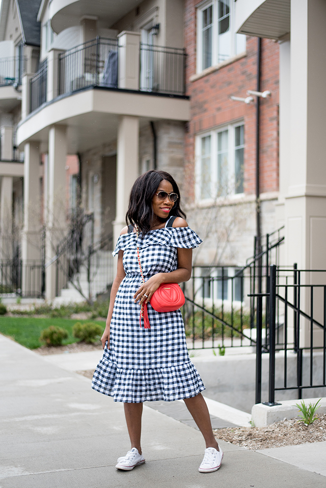 woman wearing a spring gingham Dress