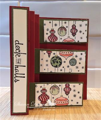 Beautiful Bauble, Christmas Card, Art with heart, fancy fold
