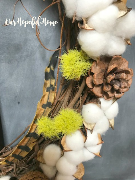 cotton boll wreath pine cones dianthus feather pumpkins hello fall sign