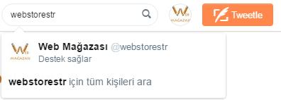 Web mağazası, Twitter arama, webstorestr