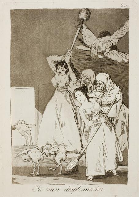 Goya Los Caprichos - Ya van desplumados / Εδώ τους ξεπουπουλιάζουν / There they go plucked