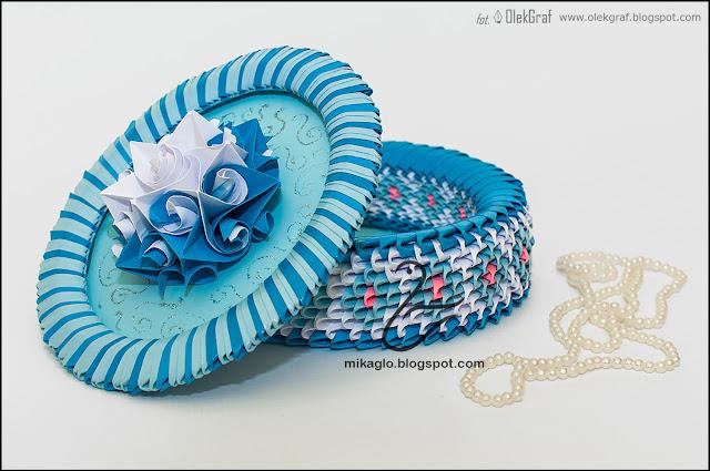 523. Szkatułka z origami / 3d origami blue box