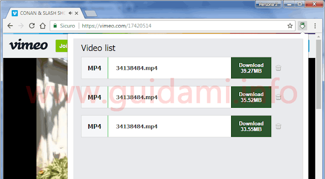Estensione Chrome Free Video Downloader lista video da scaricare