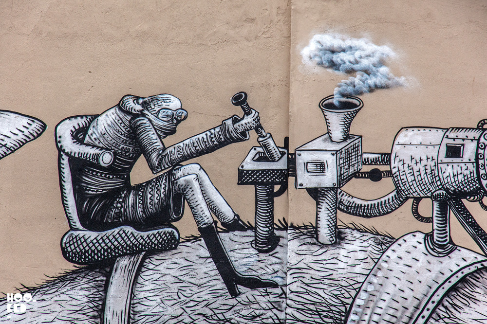 Walthamstow Street Art mural by British artist Phlegm. Photo ©Hookedblog / Mark Rigney