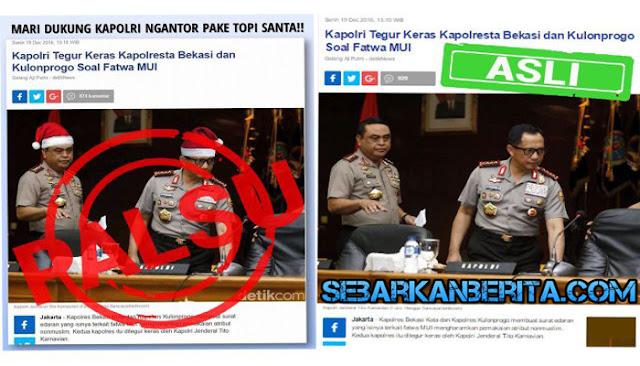Polisi Bakal Buru Orang yang Edit Foto Kapolri dan Wakapolri Yang Menggunakan Topi Santa