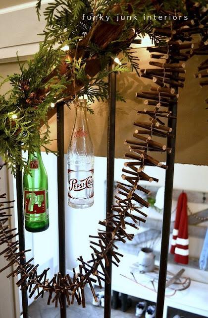 A Christmas garland made from twigs via https://www.funkyjunkinteriors.net/