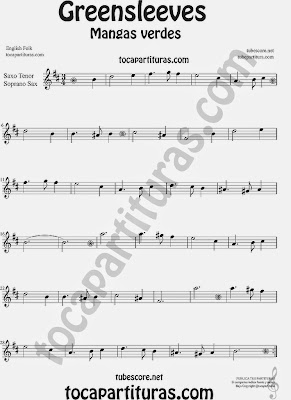 Greensleeves Partitura de Saxofón Soprano y Saxo Tenor Mangas Verdes o ¿Qué niño es este? Sheet Music for Soprano Sax and Tenor Saxophone Music Scores Carol Song What child is this?