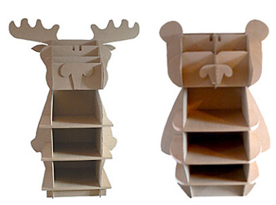 moose and bear shaped cardboard bookcases