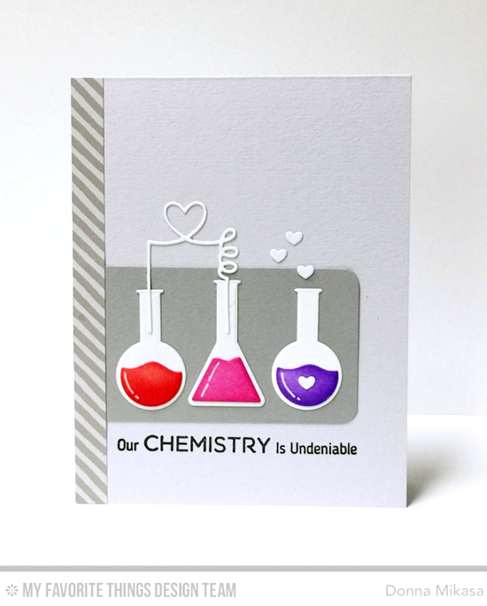 Handmade card from Donna Mikasa featuring Laina Lamb Design Undeniable Chemistry stamp set and Chemistry Set Die-namics, and Blueprints 14 Die-namics #mftstamps