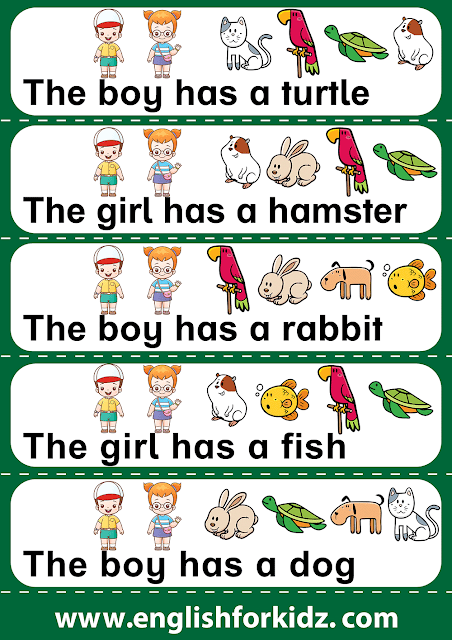 Reading comprehension worksheet for grade 1, verb have
