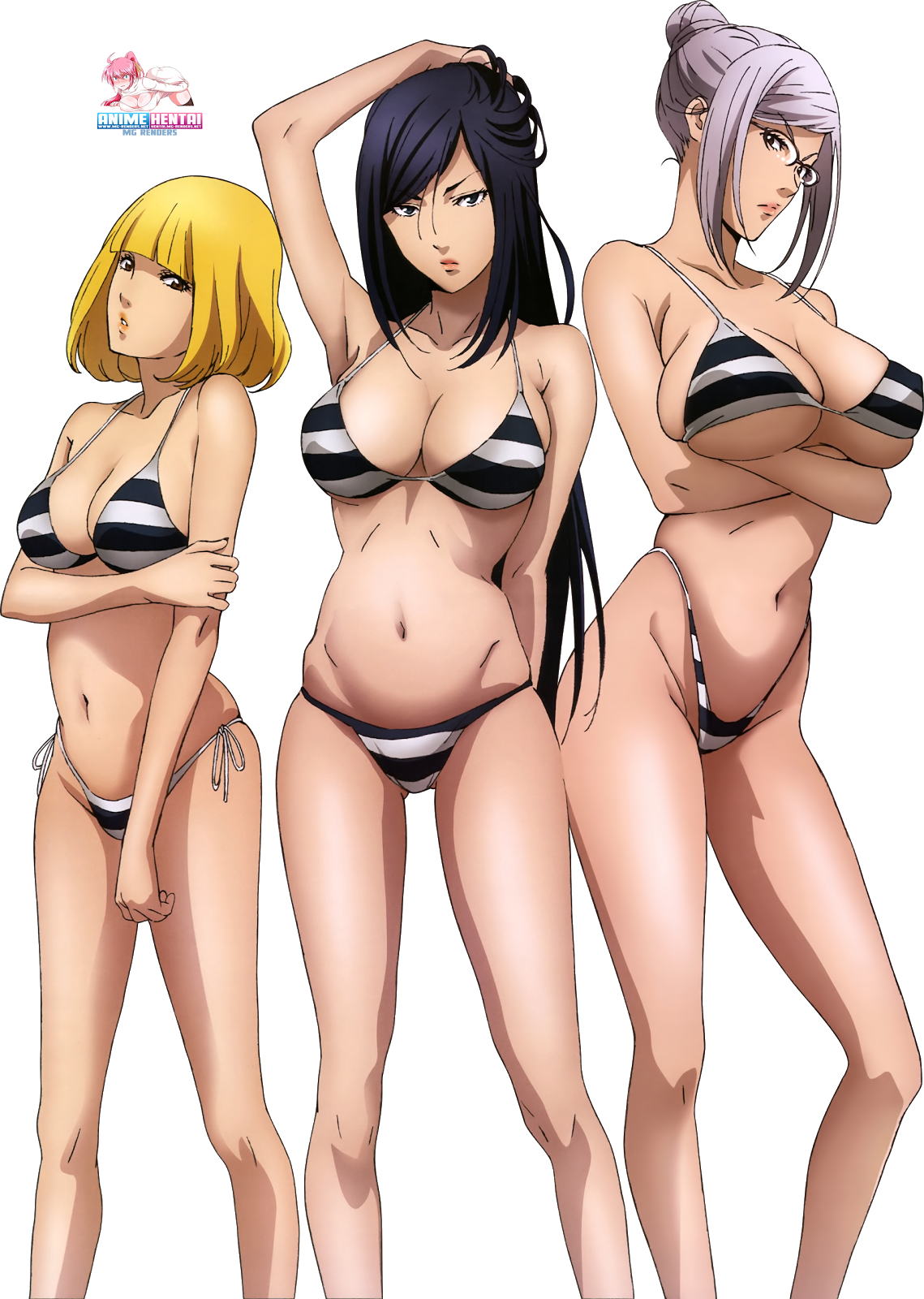 Tags: Anime, Render,  Armpit Fetish,  Huge Breasts,  Kangoku Gakuen,  Kurihara Mari,  Midorikawa Hana,  Prison School,  Shiraki Meiko,  PNG, Image, Picture