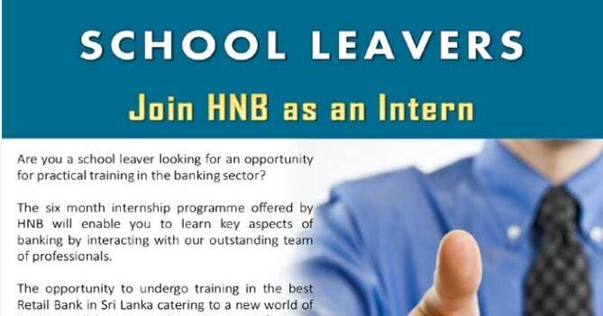 Internship for School Leavers at HNB | Agencylk - Job
