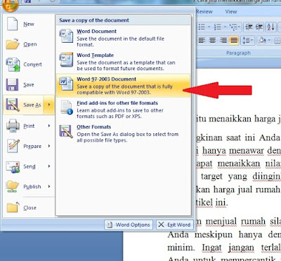 Cara rubah file Ms Word 2010, 2007 ke Ms Word 97-2003 Dokumen