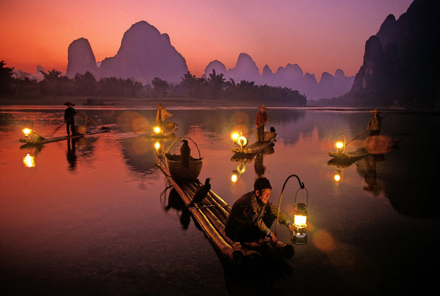 Real-life cormorant fishing on the Li River