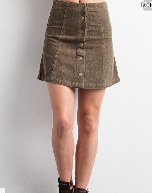 taupe corduroy skirt