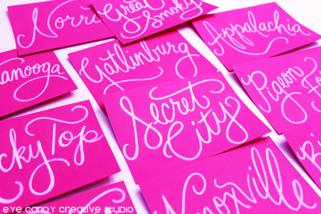 hand lettered table assignments, table names at quince, tennessee names