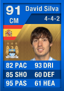 FIFA 12 Ultimate Team Card: David Silva (IF3) 91 (Blue TOTY)