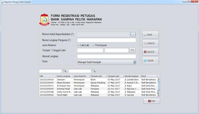 Form Registrasi Petugas Bank Sampah (Untuk Root dan User Staf Administrasi)