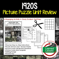 American History Picture Puzzles are great for TEST PREP, UNIT REVIEWS, TEST REVIEWS, and STUDY GUIDES, 1920s