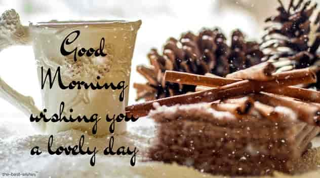 good morning with pine cones snow winter coffee tea