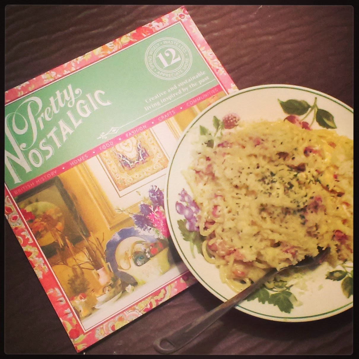 Pretty Nostalgic magazine and Spaghetti Carbonara