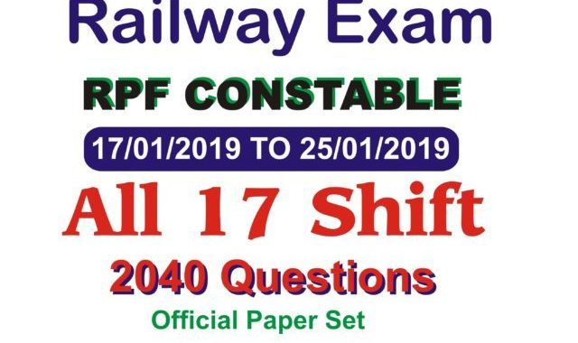 RPF Constable 2019 All Shift Question Papers in Hindi